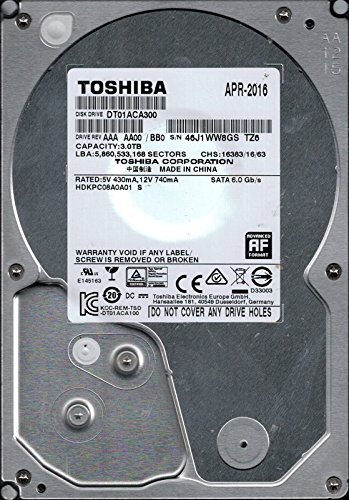 Toshiba dt01aca300interne Festplatte (SATA 2AAA AA00/BB0P/N: hdkpc08a0a01China 3TB