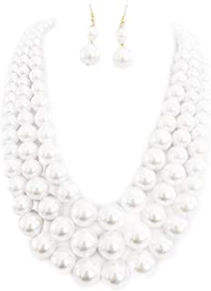 """Rosemarie & Jubalee Women's Multi Strand Simulated Pearl Necklace and Earrings Jewelry Set, 18""""-21"""" with 3"""" Extender"""