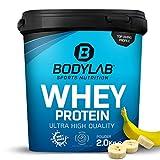 Protein-Pulver Bodylab24 Whey Protein Banane 2kg / Protein-Shake für Kraftsport & Fitness / Whey-Pulver kann den Muskelaufbau unterstützen / Hochwertiges Eiweiss-Pulver mit 80% Eiweiß / Aspartamfrei