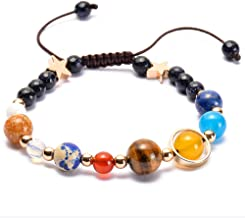 Planet Bracelet Solar System Universe Galaxy Bracelet Handmade Natural Stone Bead Bracelet String Adjustable Astronomy Gifts Bangle for Women Men Kids