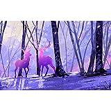 Rompecabezas para Adultos 300/500/1000 Bine Art Cartboard Elk en los Rompecabezas del Bosque para la Mejor decoración del hogar QW Store (Color : A, Size : 1000PC)