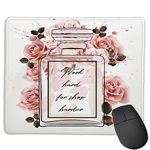 GEHIYPA Alfombrilla de ratón,Hermosa Botella de Vidrio de Perfume Rosa de, Base de Goma Antideslizante Alfombrilla de ratón para Juegos Alfombrilla Decoración de Escritorio 9.5'x7.9