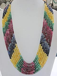 18'' 3-4 mm Rondelle Shape Multi Color Precious Ruby Sapphire Emerald Gemstone Faceted rondelle Beads Necklace