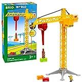 BRIO World 33835 Großer Baukran mit Licht – Zubehör für die BRIO Holzeisenbahn – Empfohlen für Kinder ab 3 Jahren