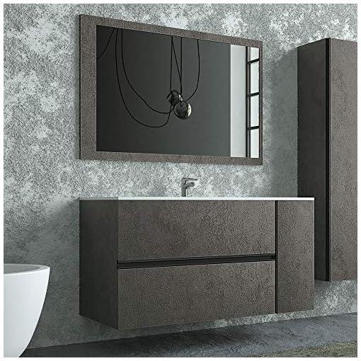 Mobile Bagno sospeso 110 cm, Colore Industrial Effetto Pietra, Completo di lavabo in Ceramica e Specchio