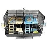 SYLTL Nid De Cochon d'Inde, Deux Niveaux Cage pour Cochon d'Inde D'intérieur, Cage pour Hamster, Maisonnette pour Petits Animaux, Accessoires Inclus,47 * 30 * 30cm