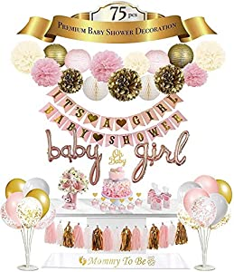 💞 BABY SHOWER DECORATION KIT INCLUDES: It's A Girl banner, Baby Shower Banner, 2 pieces Rose Gold baby girl foil balloons, 9 paper tissue pom pom flowers, 4 paper lanterns, 12 Piece tassels, 2 Honeycomb balls, 6 confetti Balloons, 9 latex Balloons, 7...