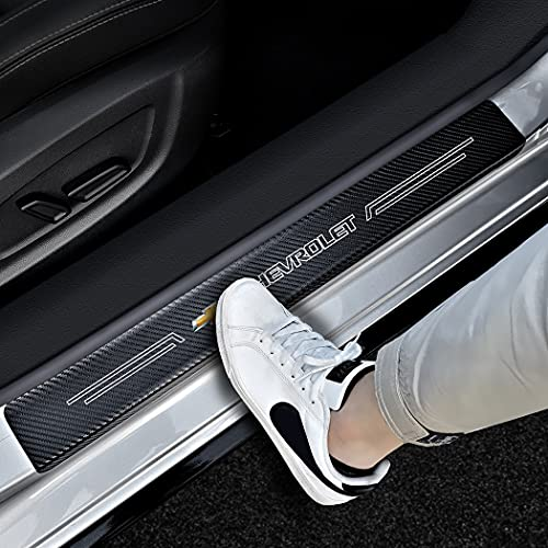 Yousthka Car Accessories for Chevrolet 4pcs/Set Car Door Edge Guards Carbon Fiber Textured Leather Car Door Protector Sill Plate Door Threshold Scratch Pad Film Fit for Chevy