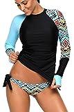 REKITA Womens Long Sleeve Rashguard Shirt Color Block Print Tankini Swimsuit Blue Medium