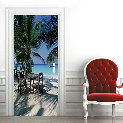 KPVK 3D Puerta Mural Fotos de póster Autoadhesivo Arte Pegatina Playa cocotero Vista mar 88x200cm Sala de Estar niños Cocina Papel Pintado Decorativos para Puerta Pared