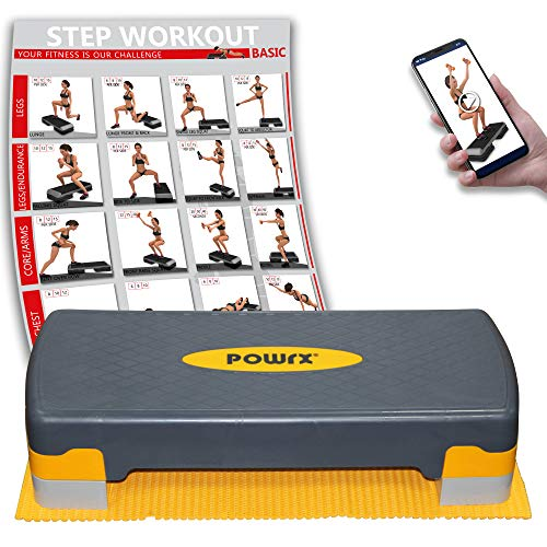 POWRX Step Fitness aeróbic escalón (66 x 27 cm) - Stepper Ideal para Ejercicios en casa - Altura Regulable y Superficie Antideslizante + PDF Workout (Negro Mango)