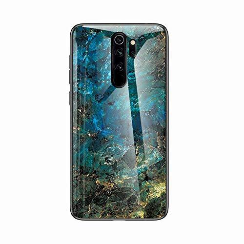 Miagon Glas Handyhülle für Xiaomi Redmi Note 8 Pro,Marmor Serie 9H Panzerglas Rückseite mit Weicher Silikon Rahmen Kratzresistent Bumper Hülle für Xiaomi Redmi Note 8 Pro,Grün