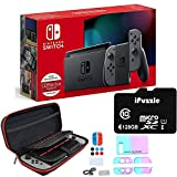Newest Nintendo Switch with Gray Joy-Con - 6.2' Touchscreen LCD Display, 802.11AC WiFi, Bluetooth 4.1, 32GB of Internal Storage - Family Holiday Bundle - Gray - 128GB SD Card + 12-in-1 Carrying Case
