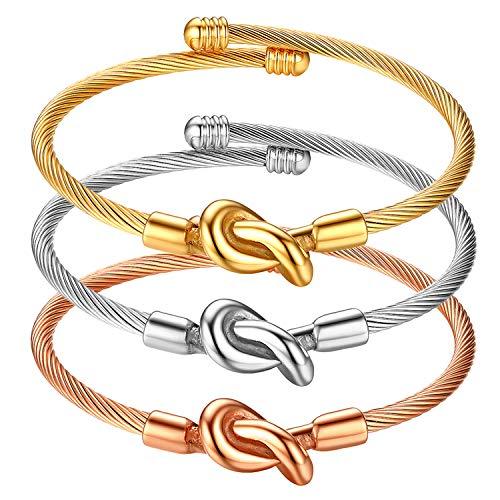 Cupimatch 3 pcs Armbänder Edelstahl Armband zum Öffnen Freundschaft Partner Armreif Set, Silber, Gold, Rosegold