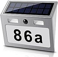 Solar beleuchtete Hausnummer mit 7 LEDs, ECHTPower Solar Hausnummer Solar Hausnummerleuchte mit Dämmerungsschalter...