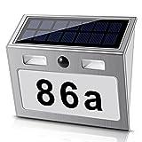 Número de casa iluminado solar con 7 ledes, con sensor de movimiento de acero inoxidable, respetuoso con el medio ambiente, color blanco