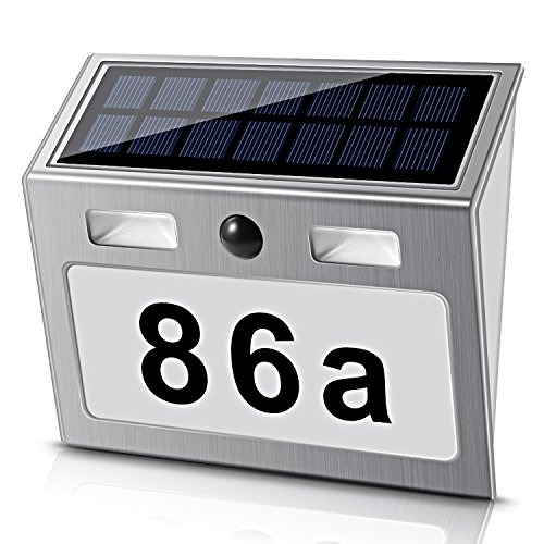 ECHTPower Solar Illuminated House Number with 7 LEDs, Environmentally Friendly, White Solar House Number Light with Twilight Switch, Motion Detector made of Stainless Steel