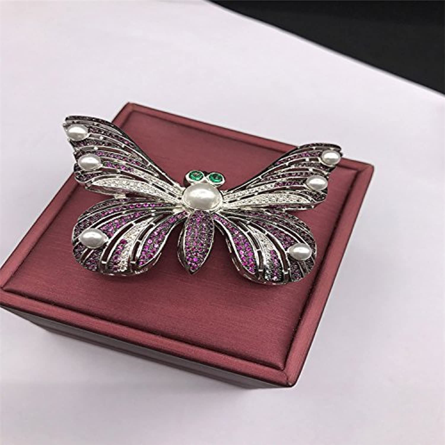 Do not pin Butterfly Brooch pin Badge Pectoral Gilded Bronze Inlaid Zircon Pearl Handmade Boutique Deals