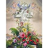 DIY Pintar por números Peinture décorative religieuse croix florale cadeau fait à la main kit de pintura digital Con pincel y pintura acrílica Kits Theme Digital Home Wall Art50x70cm(Sin marco)