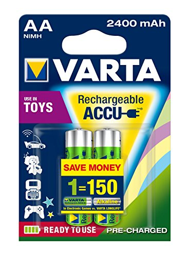 Varta toy Rechargeable Accu Ready To Use vorgeladener AA Mignon NiMh Akku (2er Pack, 2400 mAh, wiederaufladbar speziell für elektronisches Spielzeug entwickelt, wiederaufladbar ohne Memory-Effekt - sofort einsatzbereit)
