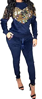 RkBaoye Women Sequin Active Stitch Sexy Casual Tracksuit
