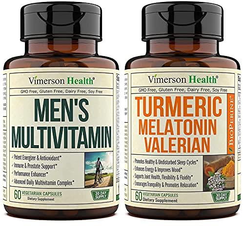 Vimerson Health - Paquete multivitaminas para hombre y melatonina de cúrcuma para apoyo articular, respuesta inflamatoria, ayuda para el sueño