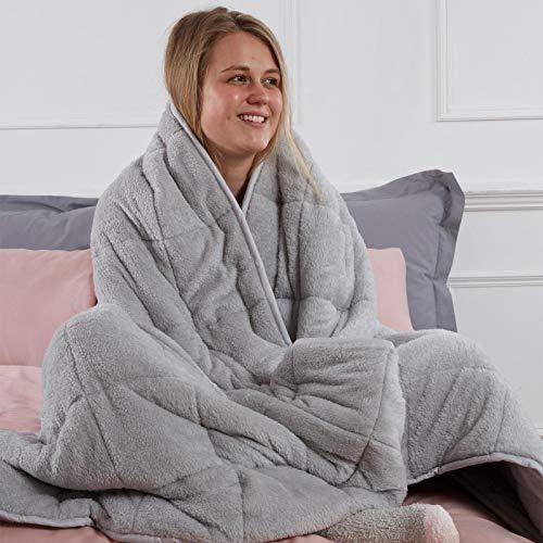 Brentfords Superweiche Teddy-Fleece-Decke für Kinder, Schlaftherapie, Angstzustände, Stressabbau, Silbergrau, 125 x 150 cm – 4 kg