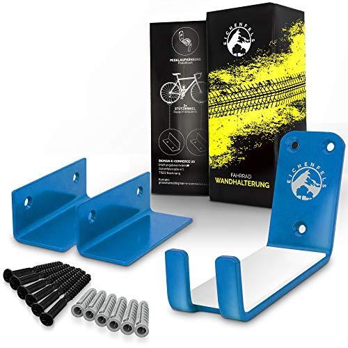 EICHENFELS Fahrrad Wandhalterung - Fahrradhalter [GEPRÜFT] - Fahrradhalterung Wand - Wandhalterung Rennrad MTB E-Bike + Montageanleitung - Befestigungsmaterial - 2x Stützwinkel