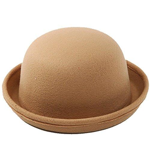 Fletion Femmes Enfants Hiver Laine Feutre rouleau Brim Billycock Cloche Bucket Bowler Derby Fedora Hat(Jaune)