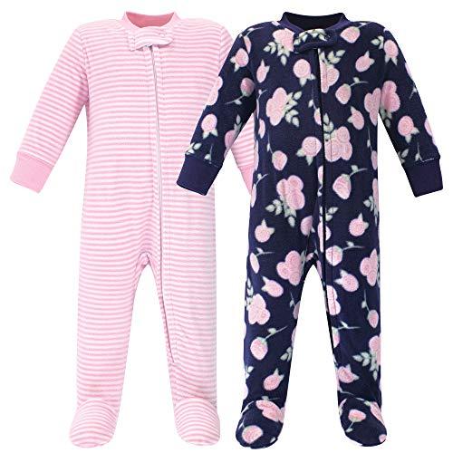Hudson Baby Unisex Baby Fleece Sleep and Play, Navy Rose, 6-9 Months US