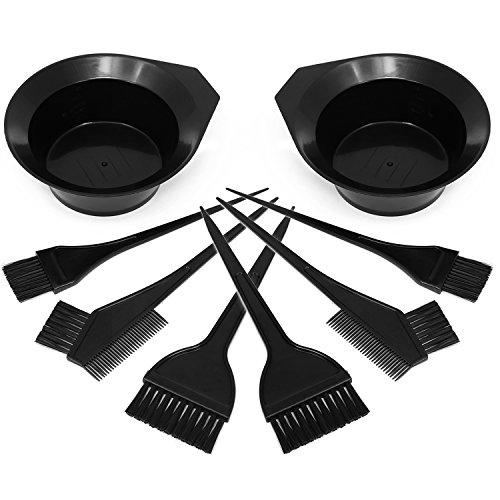 com-four® 8-teiliges Haarfärbeset mit verschiedenen Pinseln und Färbeschale in schwarz, Färbeset zum Anmischen von Haarfärbemittel (Haarfärbeset - 08-teilig)