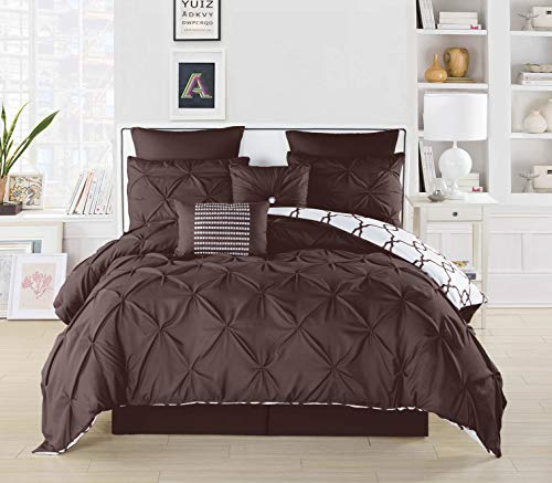 Duck River Textile Esy Hotel Quality Luxury Comforter Duvet Insert Cover 100% Ultra Soft Hypoallergenic   8 Piece Set   Geometric Pintuck Collection,     Queen Size    , Brown