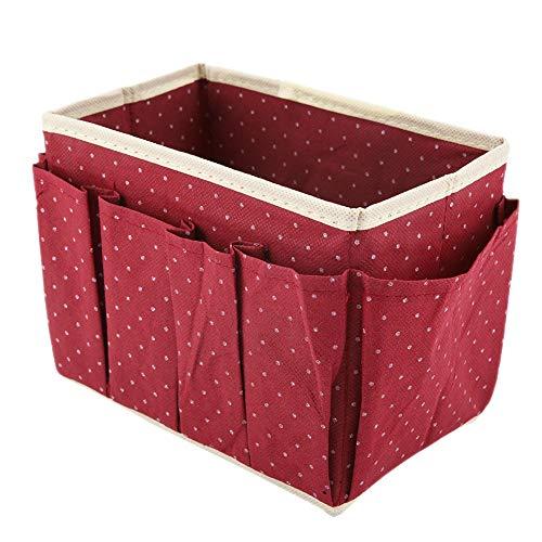 Gmkjh Caja de Almacenamiento de cosméticos, Organizador de Maquillaje, Puntos, Caja de Almacenamiento de Maquillaje de Escritorio, Organizador de cosméticos, Soporte de Caja no Tejido(Rojo)