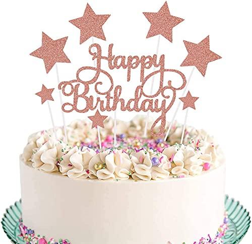 Meet-shop Cupcake Toppers,Cake Toppers 7 Piezas Estrella Decoración para Tarta de Cumpleaños para Niños Niñas Regalo Decoraciones de Fiesta de Cumpleaños(Oro Rosa)