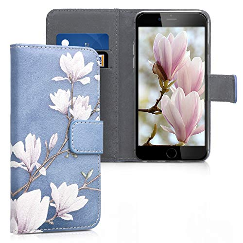 kwmobile Samsung Galaxy J3 (2016) DUOS Hülle - Kunstleder Wallet Case für Samsung Galaxy J3 (2016) DUOS mit Kartenfächern & Stand - Magnolien Design Taupe Weiß Blaugrau