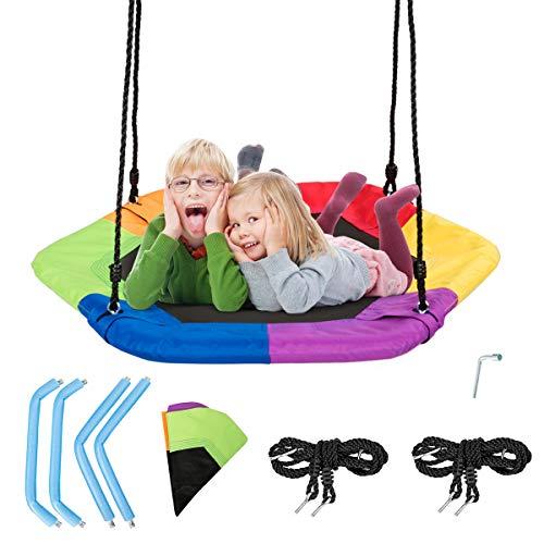COSTWAY 94x84cm Nestschaukel, Baumschaukel 100-160cm verstellbaren Seil, Hängeschaukel 150kg Tragkraft, Tellerschaukel für Kinder & Erwachsene (Bunt)