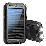 Solar Power Bank 33800mAh Portable Solar Charger 5V3.1A,18W PD QC 3.0 Dual 2 USB,LED Flashlights Port Strong LED IPX7 Flashlight,Waterproof, Dustproof, Shockproof (Black)