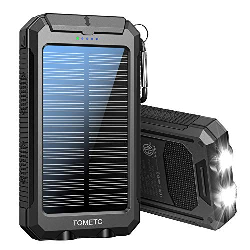 Solar Power Bank 33800mAh Portable Solar Charger 5V3.1A,18W PD QC 3.0 Dual 2 USB,LED Flashlights Port Strong LED IPX7 Flashlight,Waterproof, Dustproof, Shockproof (Black)