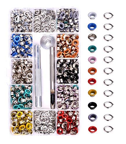 Metal Grommets Kit 3/16 inch Meiker 500Pcs Multi-Color Metal Eyelets Kits Shoe Eyelets Grommet Sets with Storage Box for Shoes Clothes Crafts Bag DIY Project (10 Colors)