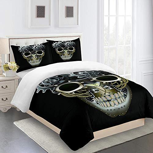 3 Pcs Skull Duvet Cover King Size 3D Printing Halloween Bedding Duvet Cover With Zipper Closure For Home Decro,Super Soft Microfiber Skull Bedding Set(220x240cm)