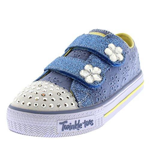 Skechers Kids Damen infants twinkle toes shuffles frillseeker trainers 6 blau gelb 6 uk