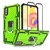 Samsung Galaxy A01 Case and Tempered Glass Screen Protector, HNHYGETE Tough Rugged Shockproof Full Protective Phone Cases with Kickstand for Samsung Galaxy A01 (Green)