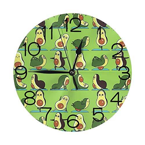 Reloj de pared redondo de aguacate para yoga, gran reloj de pared decorativo, estilo numeral redondo, decoración del hogar moderna para sala de estar (25 cm)