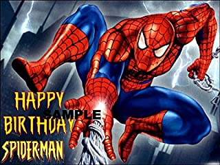 Spiderman Happy Birthday Image Edible Cake topper Frosting Sheet 1/4 sheet