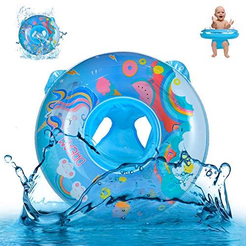Yisscen Anillo de Natación para Bebé, Flotadores Bebe Unicornio de Dibujos Animados Anillo de Natación Inflable con Asiento para 6-36 Meses Niños Juguetes Acuáticos de Verano, azul