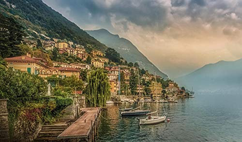 Italy Moltrasio como Lake Mountain Berth Coast Houses CitiesAdult Puzzle Children 1000 Pieces Wooden Puzzle Game Gift Home Decoration Special Travel Souvenir