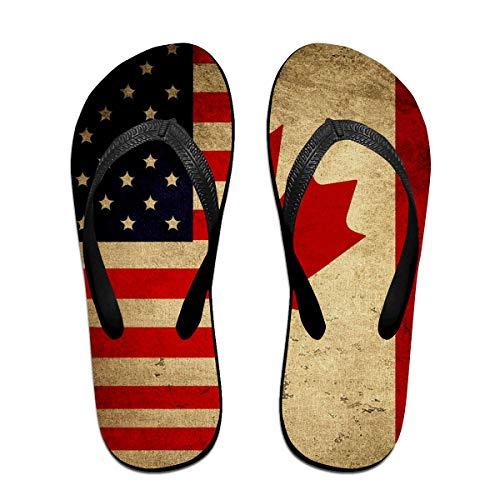 Iop 90p Vintage amerikanische und kanadische Flaggen Flip Flops Pantoffeln Strand Sandalen Pool Schuhe