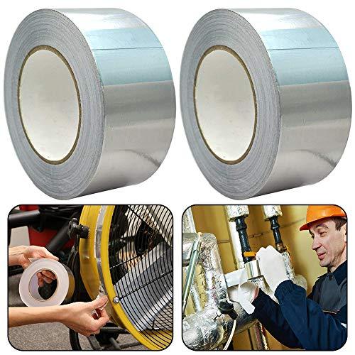 Nastro Adesivo in Alluminio BESLIME 2pcs Lamina di Alluminio Adesivo Nastro Adesivo, 17m×25mm Adesivo Isolante in Fogli di Alluminio,Calore Elevato Impermeabile