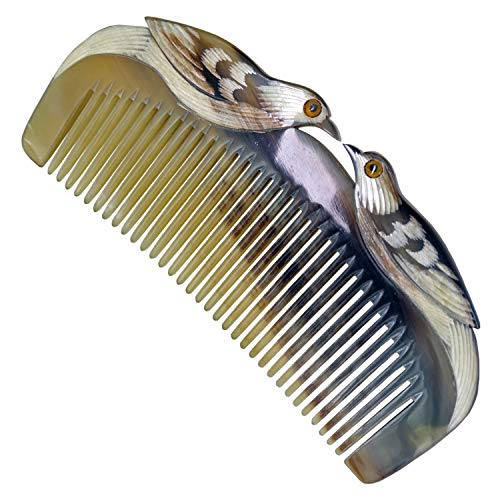 HONGLAYS Ox Horn Comb Anti-Static Pocket Horn Comb Love Bird Engraving Buffalo Horn Comb -Without handle