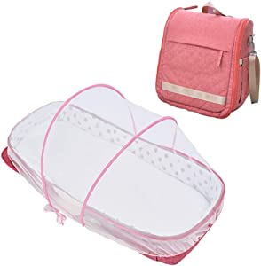 XJJUN Bionic Bed Mosquito Net Backpack Foldable Net Mattress Formaldehyde Free  Colors  Styles  Color Pink-A  Size 83 5X34X16CM